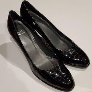 Stuart Weitzman 9 N Black Patent Croc Leather Heel